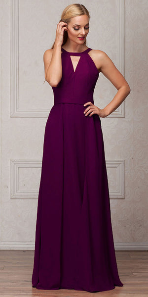 Image of High Round Neck Princess Cut Long Bridesmaid Dress in Eggplant