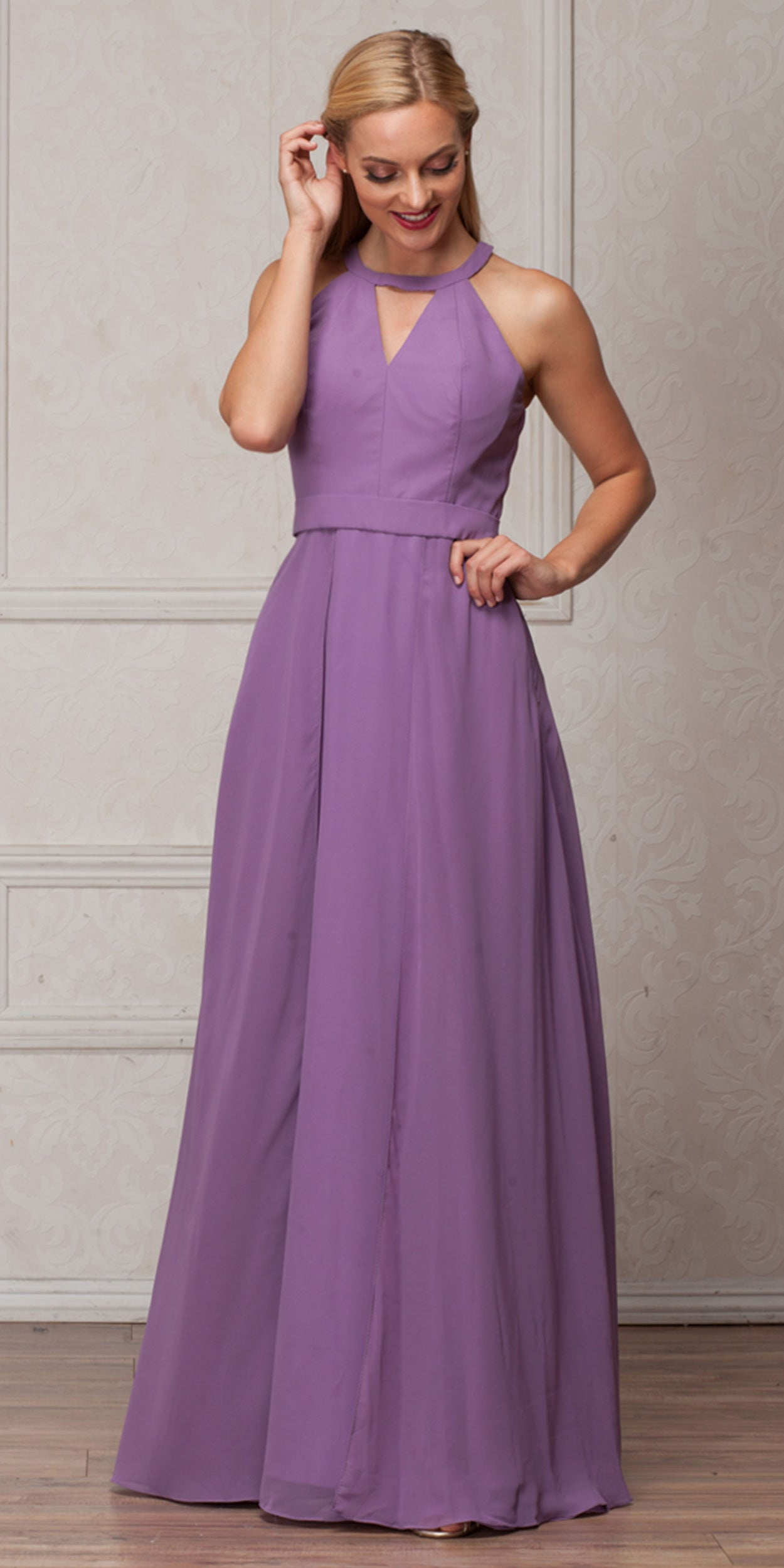 Image of High Round Neck Princess Cut Long Bridesmaid Dress in Lavender