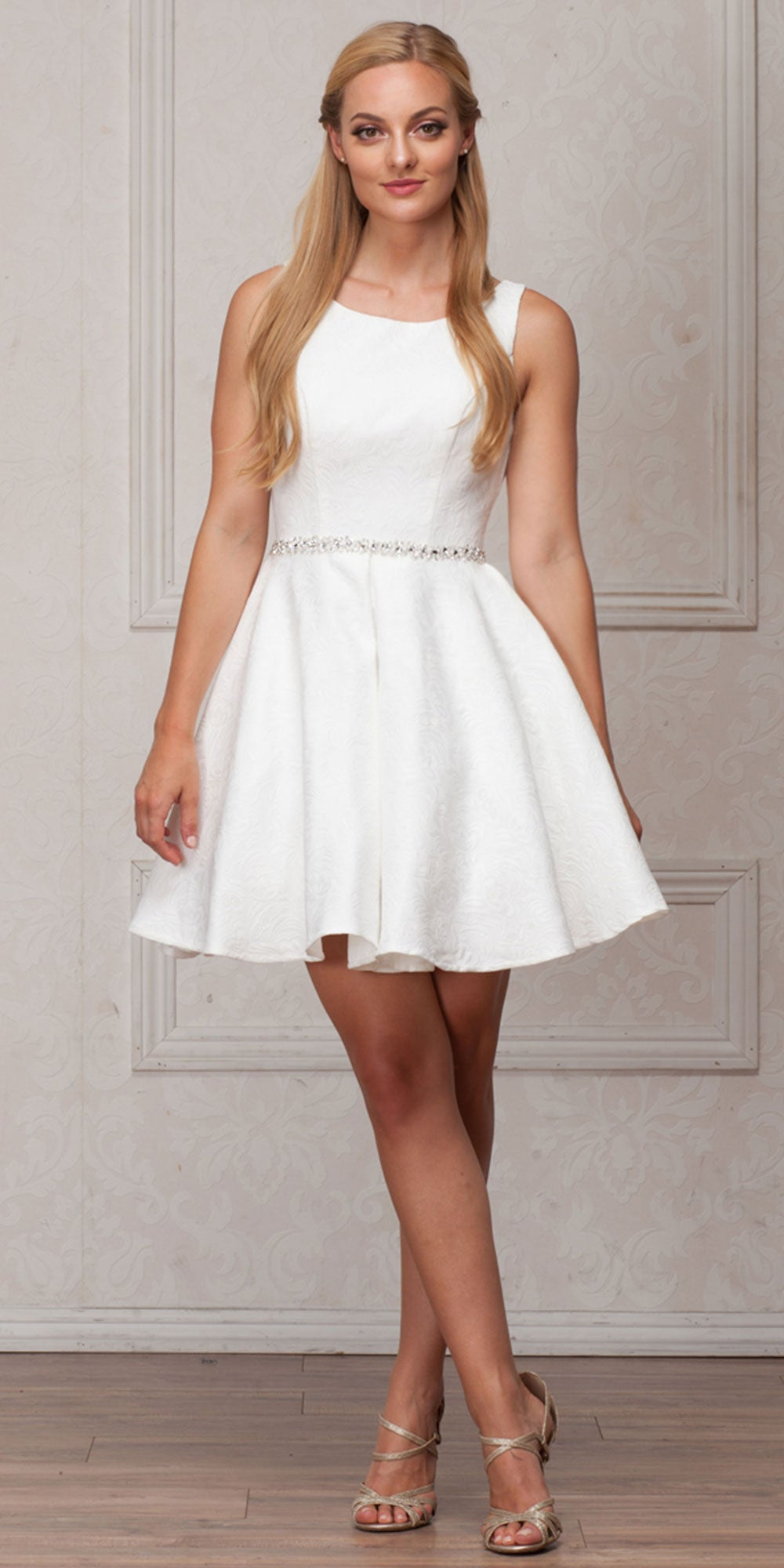 Image of Boat Neck Jewel Waist Pleated Puffy Skirt Short Party Dress in Ivory