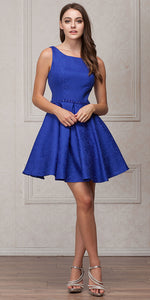 Main image of Boat Neck Jewel Waist Pleated Puffy Skirt Short Party Dress