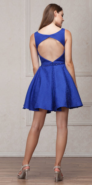 Back image of Boat Neck Jewel Waist Pleated Puffy Skirt Short Party Dress