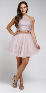 Image of Dazzling Embroidered Two Piece Halter Short Prom Dress in Lavender