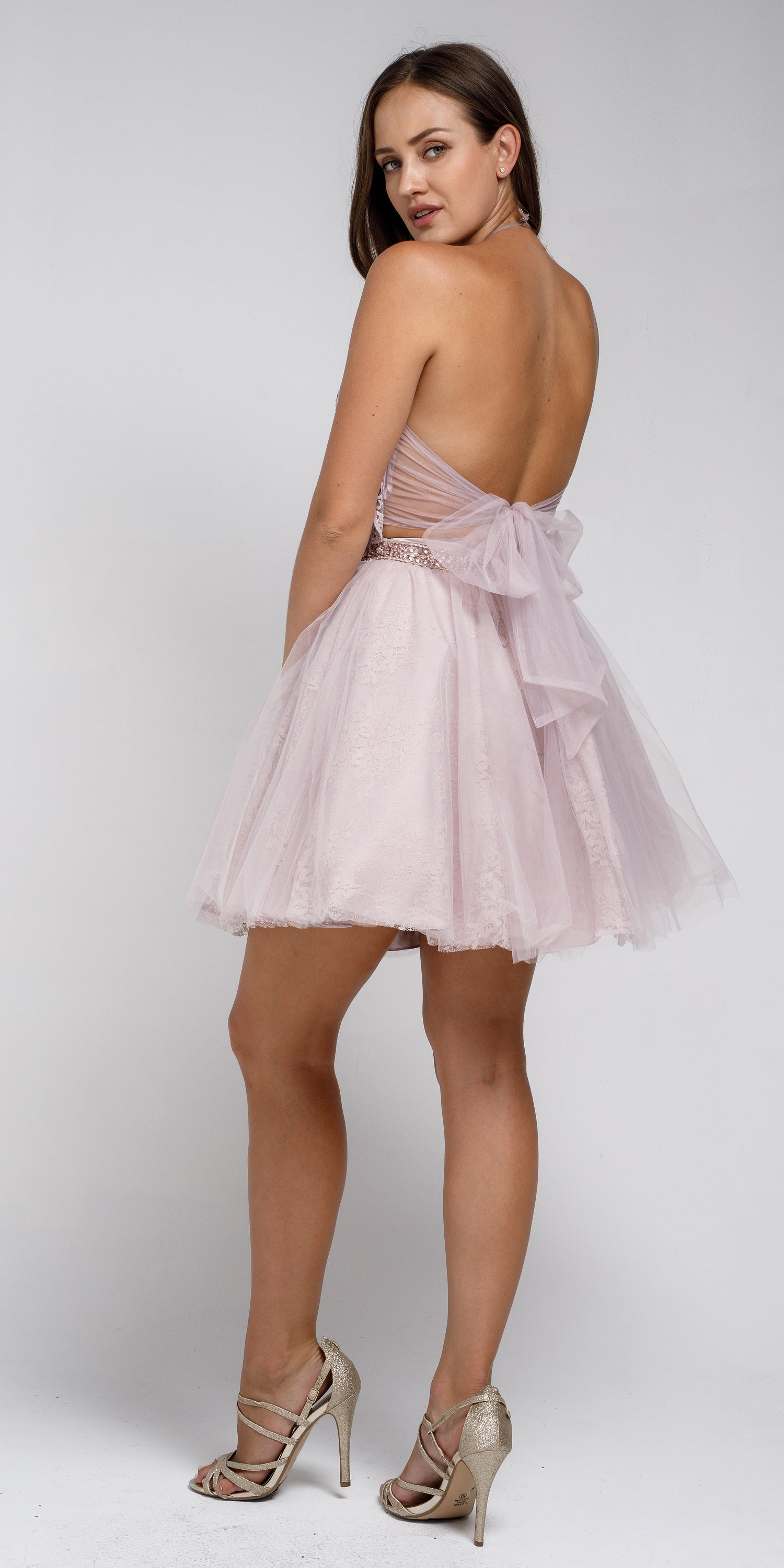 Back image of Dazzling Embroidered Two Piece Halter Short Prom Dress
