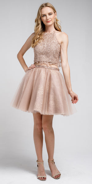 Main image of Dazzling Embroidered Two Piece Halter Short Prom Dress