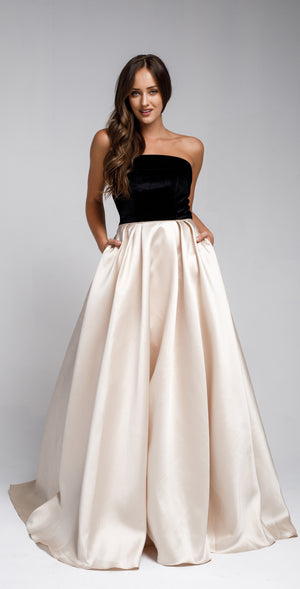 Image of Off Shoulder Long Puffy Prom Dress in Champaign