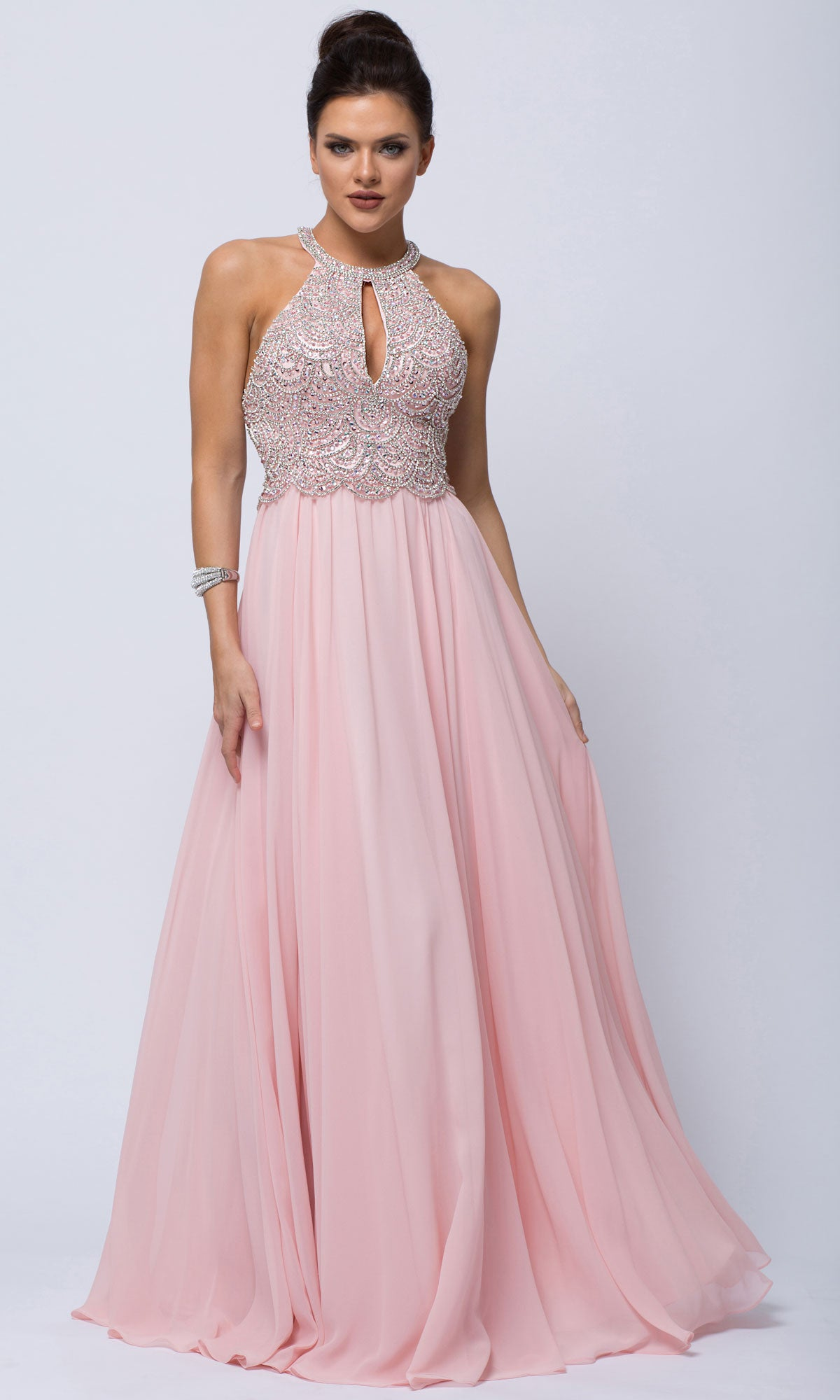 Main image of Sleeveless Beaded Prom Dress With High Neckline