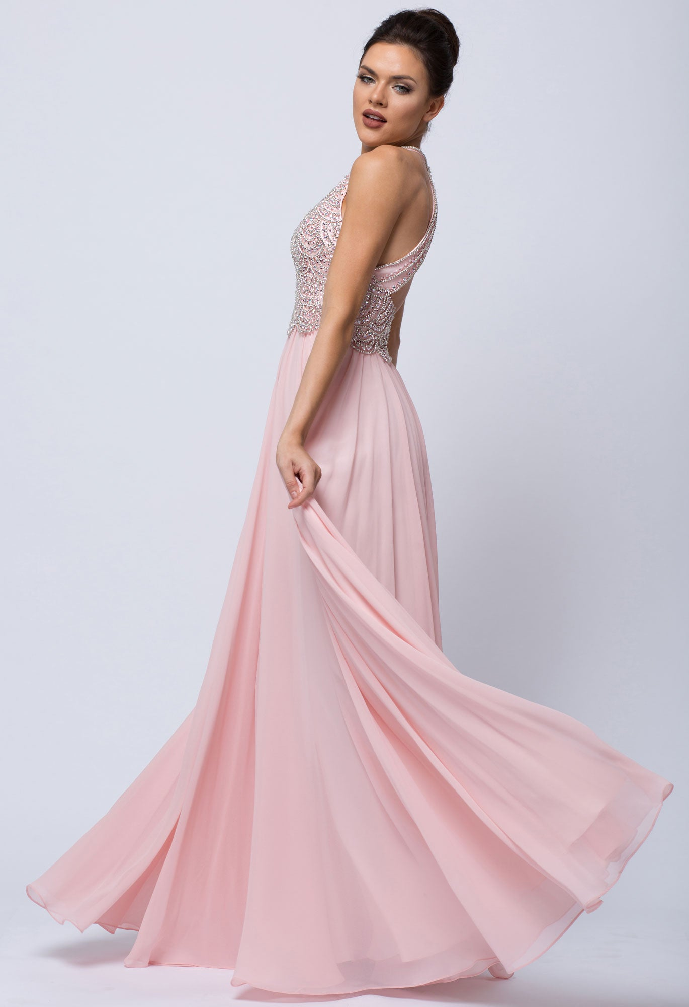 Back image of Sleeveless Beaded Prom Dress With High Neckline