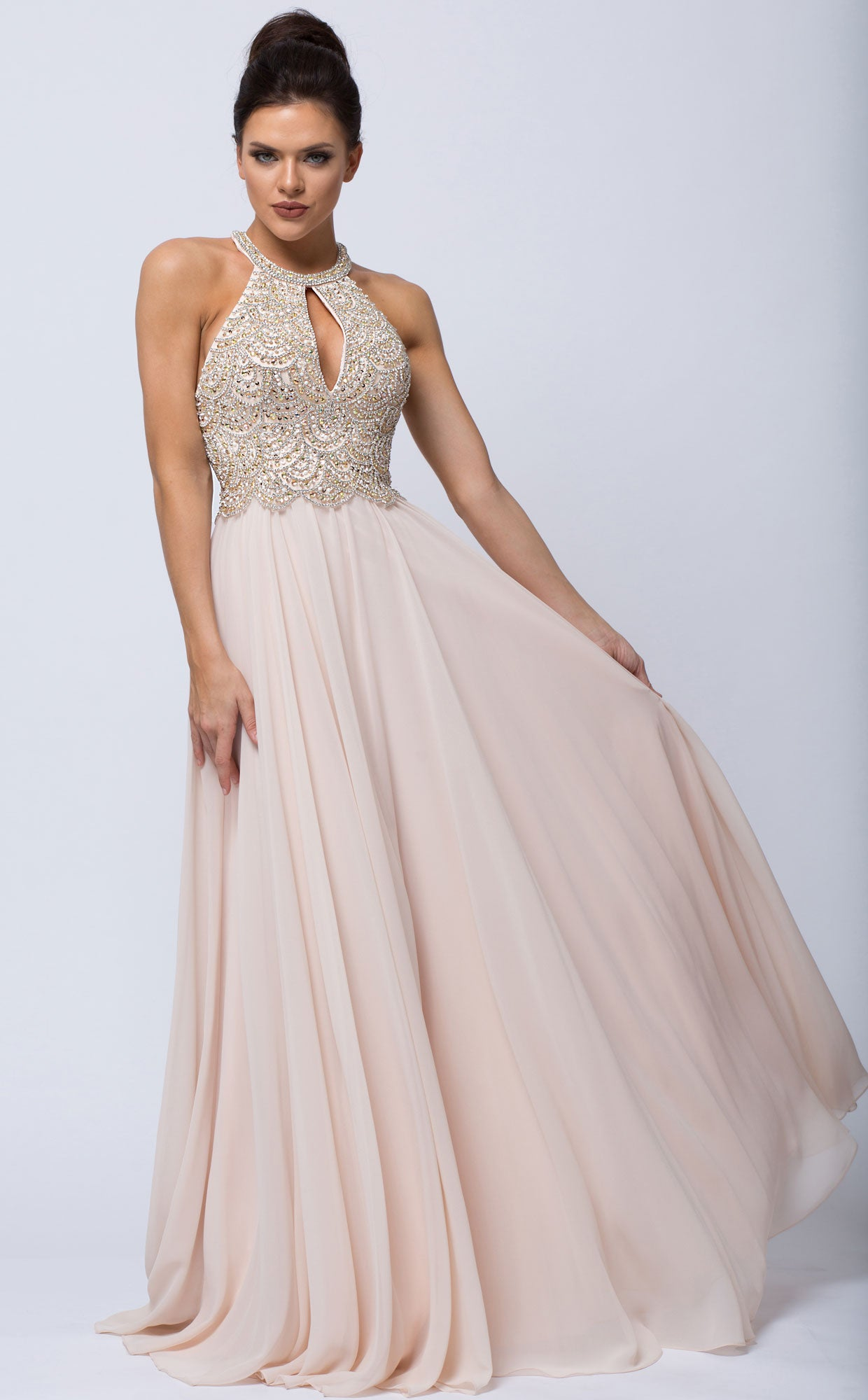 Image of Sleeveless Beaded Prom Dress With High Neckline in Champaign