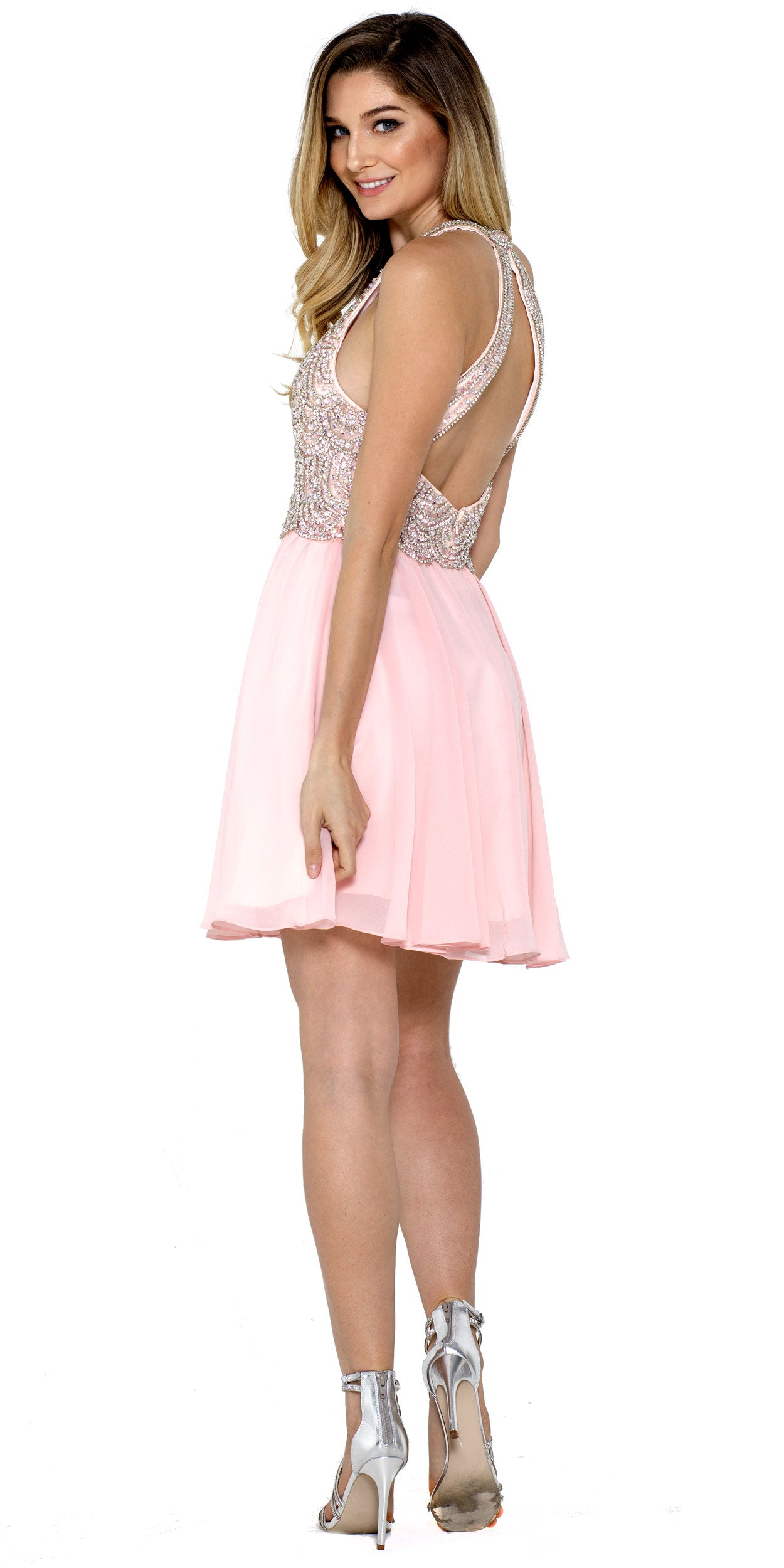 Back image of Halter Neck Beaded Bust Short Chiffon Prom Party  dress