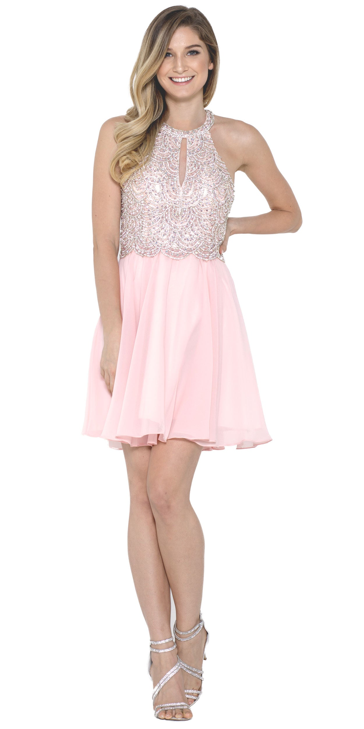 Main image of Halter Neck Beaded Bust Short Chiffon Prom Party  dress