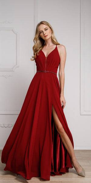 Image of V-neck Rhinestones Belt Front Slit Long Bridesmaid Dress in Burgundy
