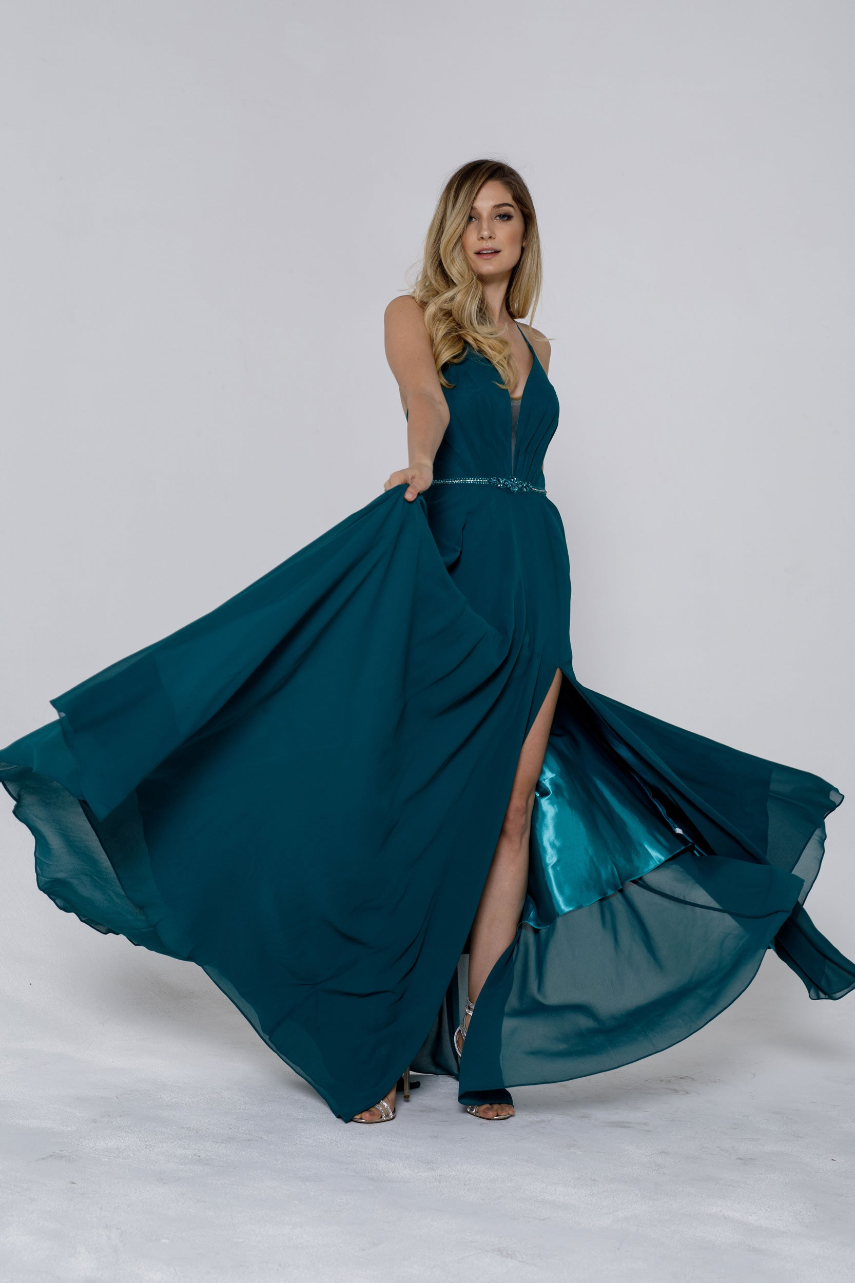Image of V-neck Rhinestones Belt Front Slit Longl Bridesmaid Dress in Emerald Green