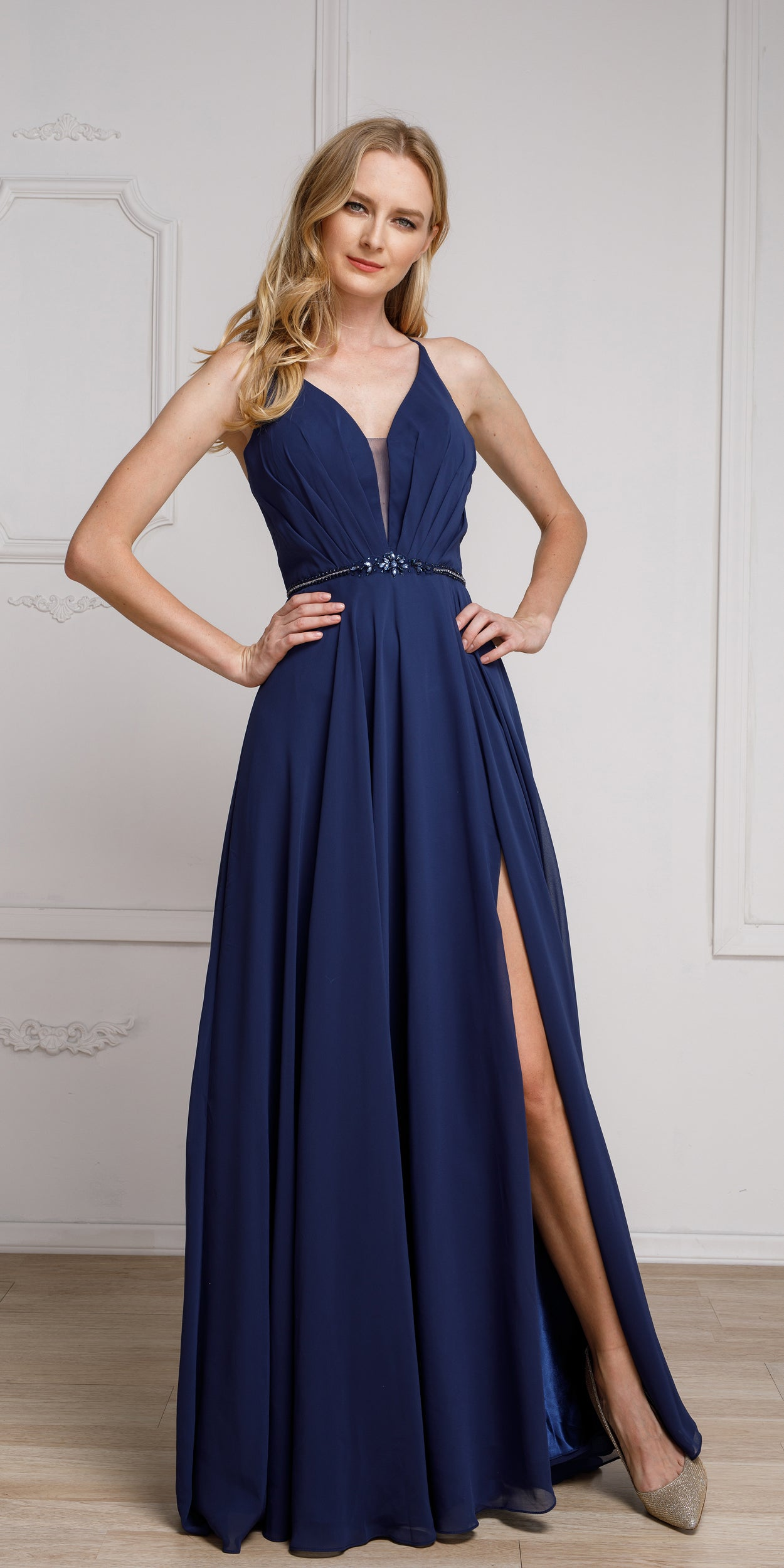 Image of V-neck Rhinestones Belt Front Slit Long Bridesmaid Dress in Navy