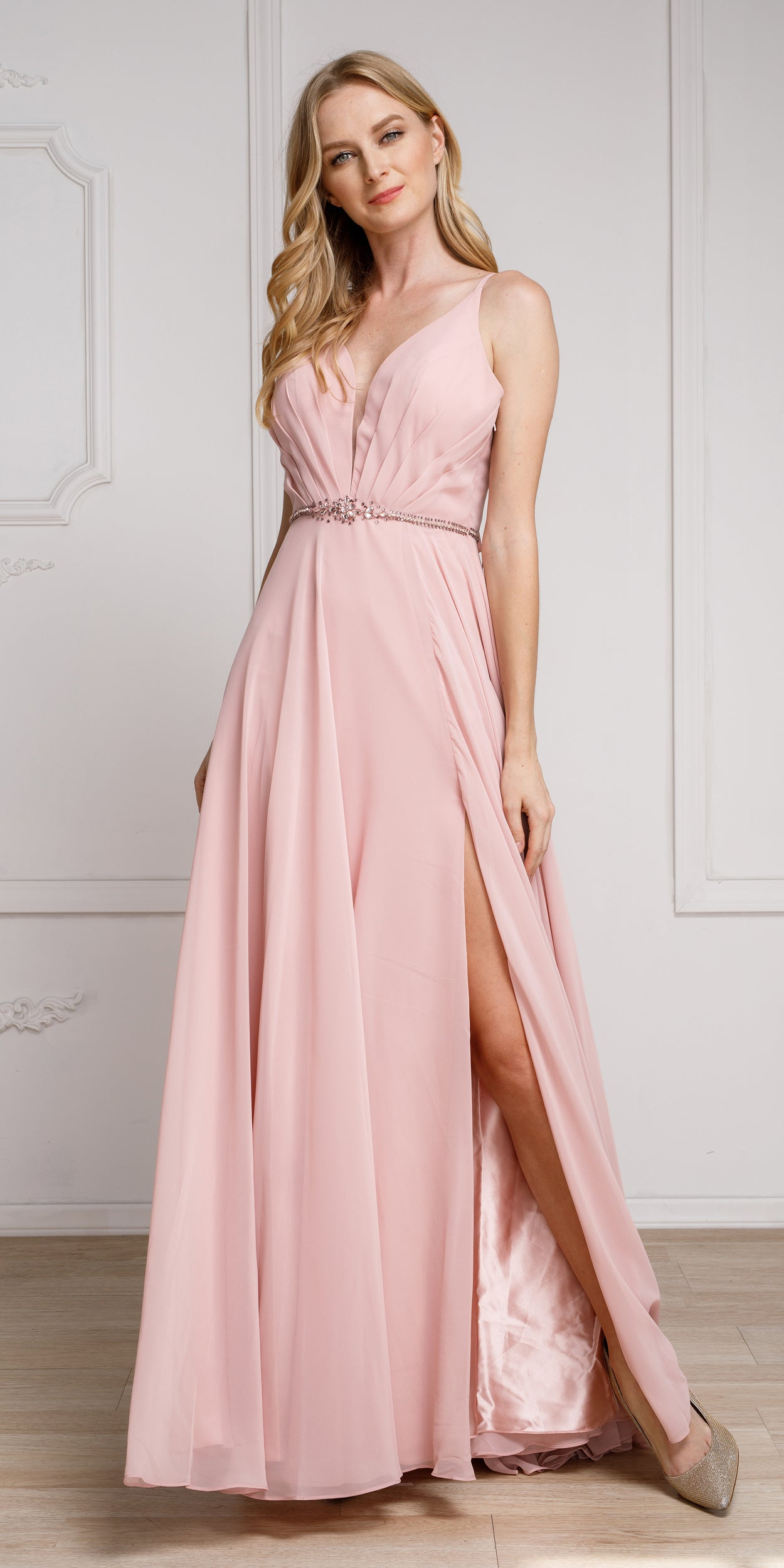 Image of V-neck Rhinestones Belt Front Slit Long Bridesmaid Dress in Rose