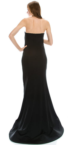 Back image of Strapless Sweetheart Neck Floor Length Formal Evening Dress