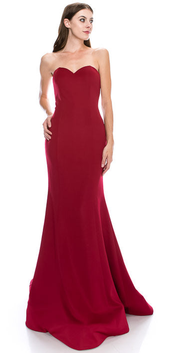 Image of Strapless Sweetheart Neck Floor Length Formal Evening Dress in Red