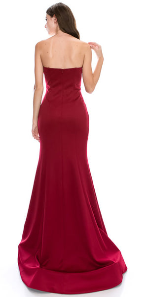 Image of Strapless Sweetheart Neck Floor Length Formal Evening Dress back in Red