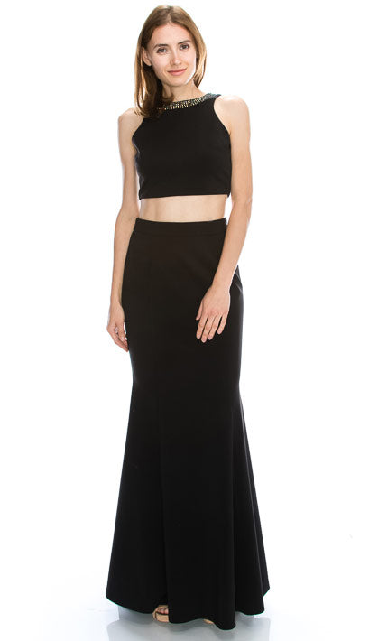 Image of Beaded Neck Crop Top Fitted Skirt Two-piece Prom Dress in Black