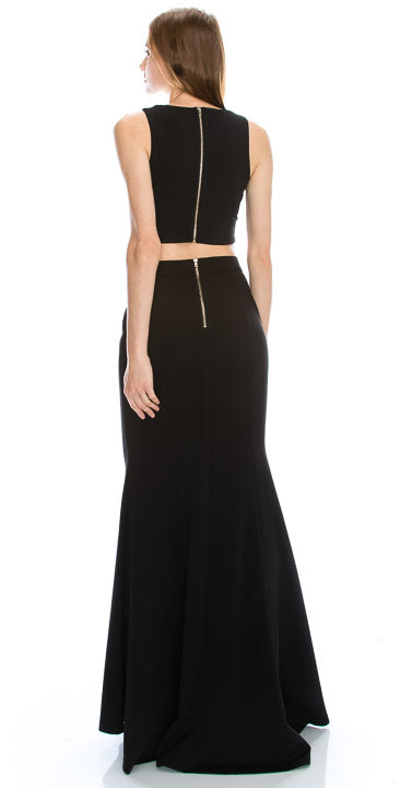 Image of Beaded Neck Crop Top Fitted Skirt Two-piece Prom Dress back in Black