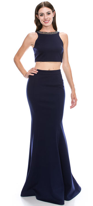 Main image of Beaded Neck Crop Top Fitted Skirt Two-piece Prom Dress