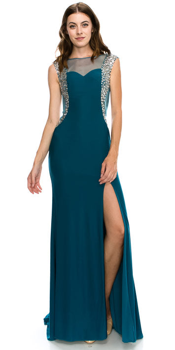 Image of Boat Neck Bejeweled Sides Long Formal Prom Dress in an alternative image