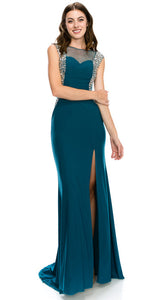 Main image of Boat Neck Bejeweled Sides Long Formal Prom Dress