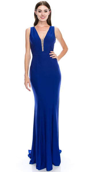 Image of V-neck Sequins Accent Fitted Long Formal Evening Dress in Royal Blue