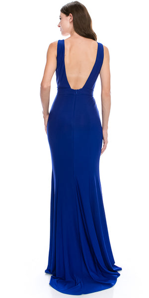 Back image of V-neck Sequins Accent Fitted Long Formal Evening Dress