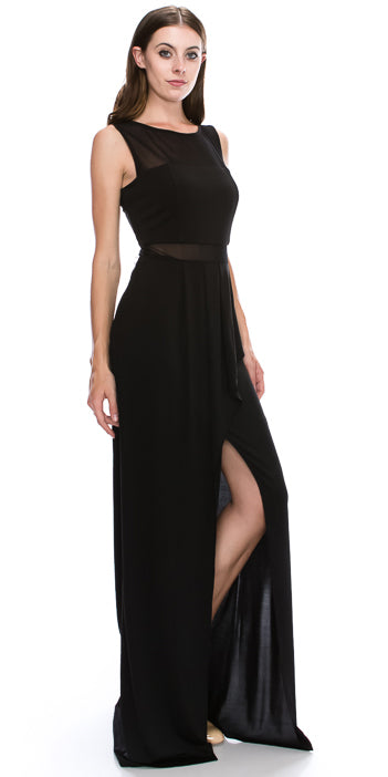 Image of Round Neck Sleeveless Sheer Neck & Waist Long Formal Dress in Black