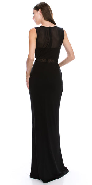 Back image of Round Neck Sleeveless Sheer Neck & Waist Long Formal Dress