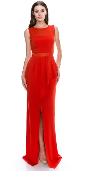Main image of Round Neck Sleeveless Sheer Neck & Waist Long Formal Dress