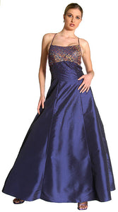 Main image of Criss Crossed Brocade Beaded Formal Prom Dress