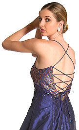 Back image of Criss Crossed Brocade Beaded Formal Prom Dress
