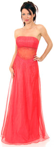 Main image of Semi See-thru Mid Bodice Beaded Prom Dress