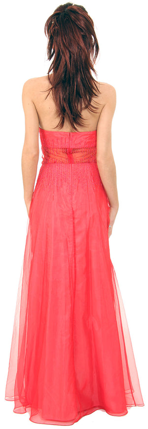 Back image of Semi See-thru Mid Bodice Beaded Prom Dress