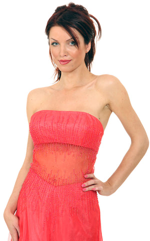 Image of Semi See-thru Mid Bodice Beaded Prom Dress in closeup