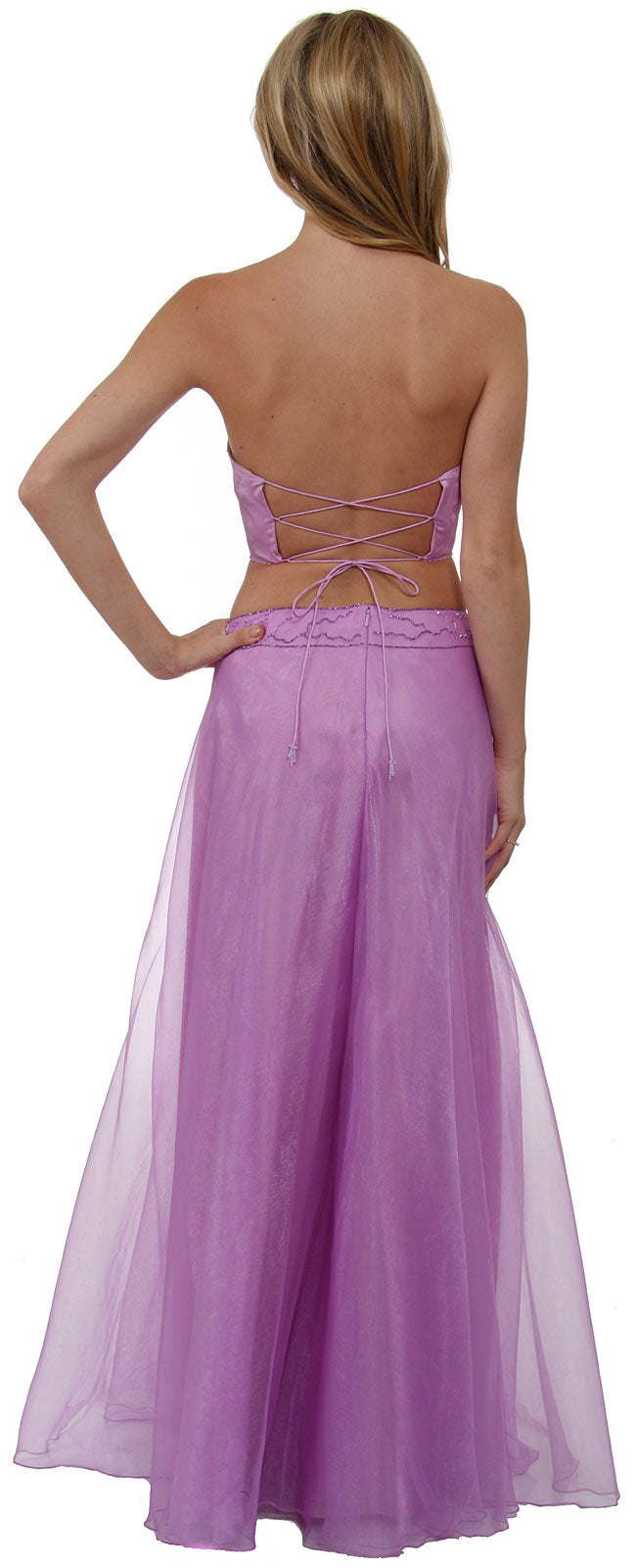 Back image of Criss Crossed Strapless Beaded Dress