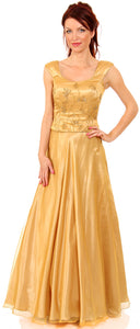 Main image of Beaded Top Long Formal Prom Gown With Puffy Skirt