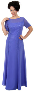 Main image of Sheer Short Sleeved Beaded Long Formal Gown