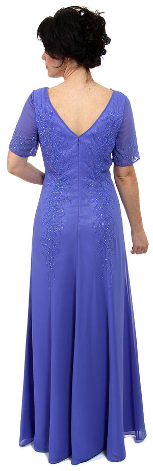 Back image of Sheer Short Sleeved Beaded Long Formal Gown