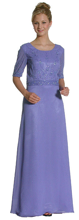 Main image of A Shape Half-sleeved Beaded Long Formal Gown