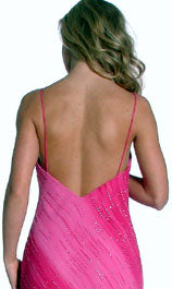 Back image of Cowl Neck Spaghetti Straps Sequined Ombre Formal Dress