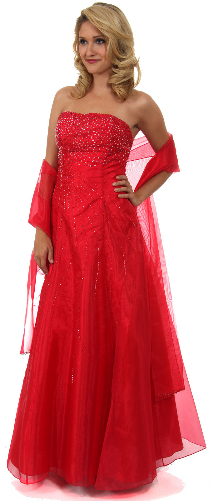 Main image of Strapless A-line Layered Beaded Organza Prom Dress