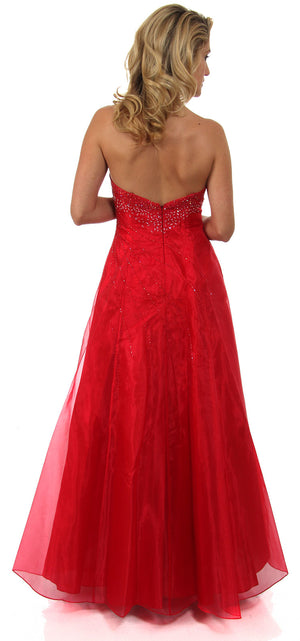 Back image of Strapless A-line Layered Beaded Organza Prom Dress