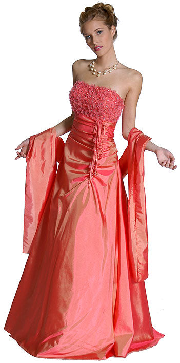 Main image of Off Shouldered Miniature Flower Taffeta Prom Dress