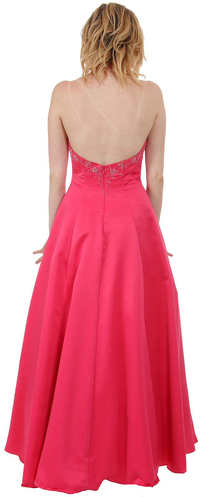 Back image of Beaded Halter-neck Prom Dress