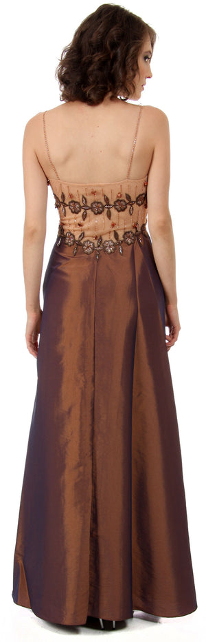 Back image of Sheer Mesh Top With Taffeta Overlap Skirt Formal Prom Dress