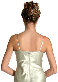 Back image of Satin Full Length Formal Bridesmaid Dress