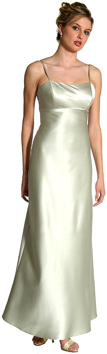 Image of Satin Full Length Formal Bridesmaid Dress without Jacket