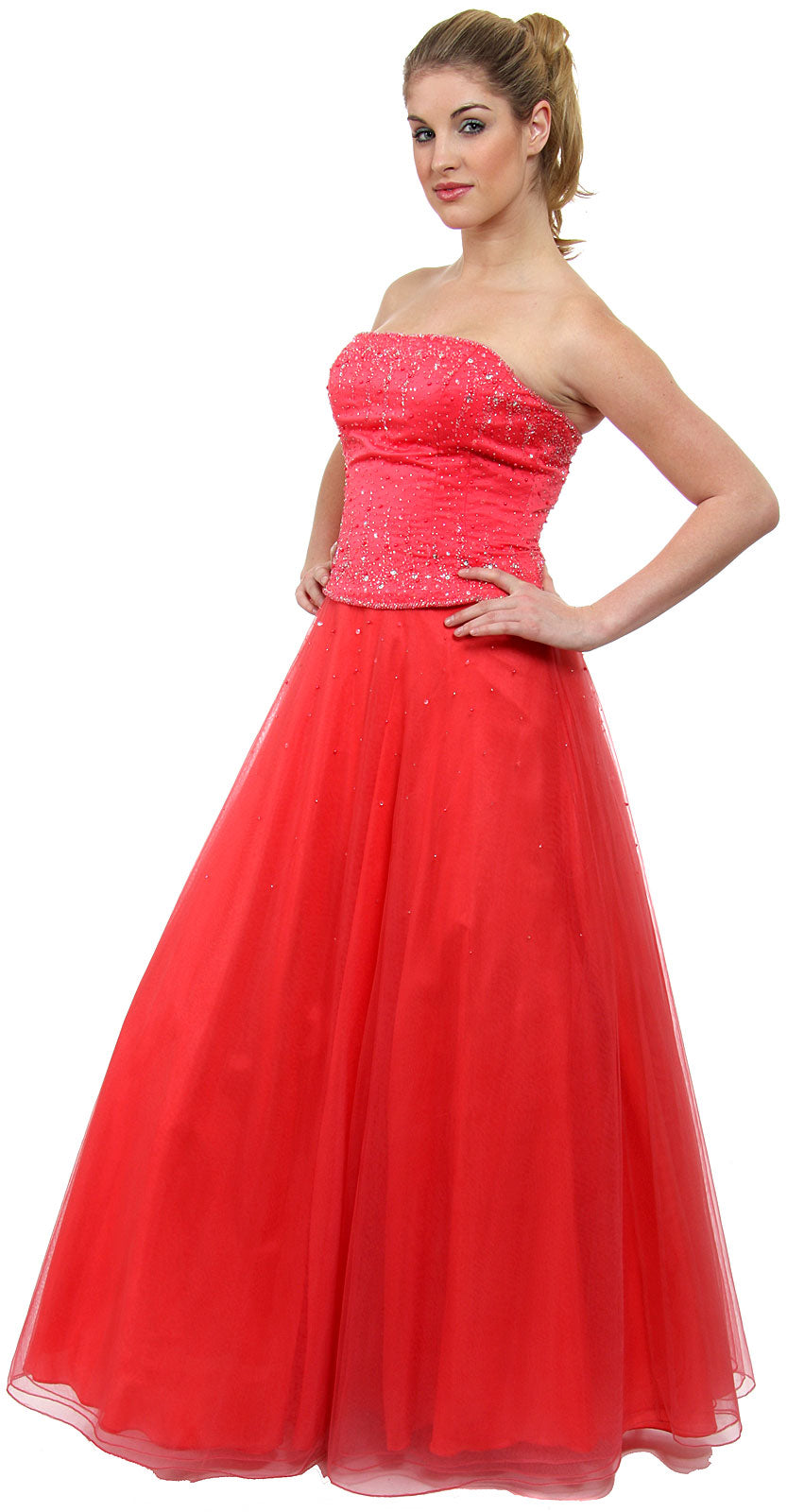 Main image of Watermelon A-line Beaded Prom Dress